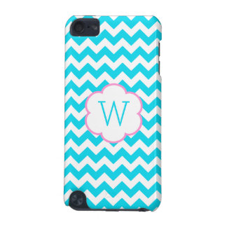 Turquoise and white chevron monogram iPod touch (5th generation) covers