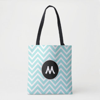 Turquoise and White Chevron Monogram Tote Bag