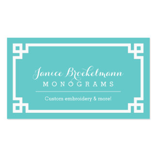 Turquoise and White Chic Greek Key Border Business Card Templates