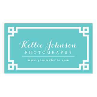 Turquoise and White Chic Greek Key Border Pack Of Standard Business Cards
