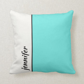 Turquoise and White Colour Block with Your Name Cushion
