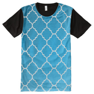 Turquoise and White Damask All-Over Print T-Shirt