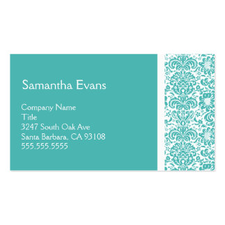 Turquoise and White Damask Business Card