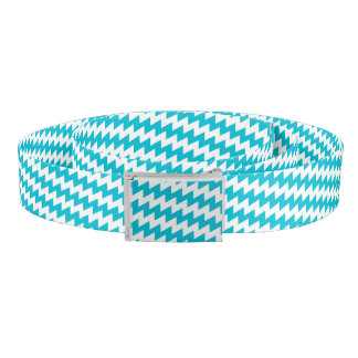 Turquoise and white diagonal chevron belt