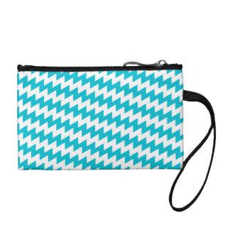 Turquoise and white diagonal chevron coin purse