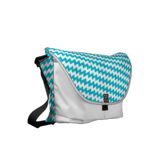 Turquoise and white diagonal chevron messenger bag