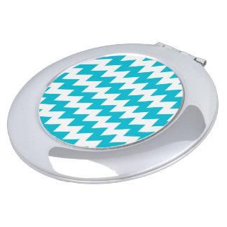 Turquoise and white diagonal chevron mirror for makeup