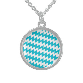 Turquoise and white diagonal chevron sterling silver necklace