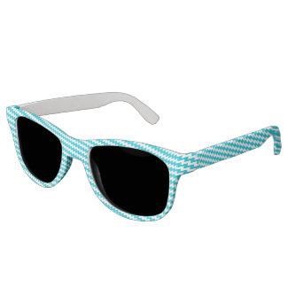Turquoise and white diagonal chevron sunglasses