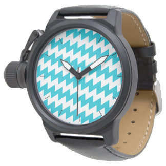Turquoise and white diagonal chevron wrist watch