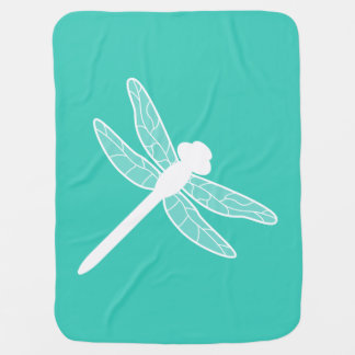 Turquoise And White Dragonfly Silhouette Receiving Blanket