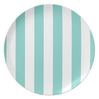 Turquoise and White Extra Large Stripe Pattern Party Plate