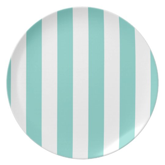 Turquoise and White Extra Large Stripe Pattern Plate