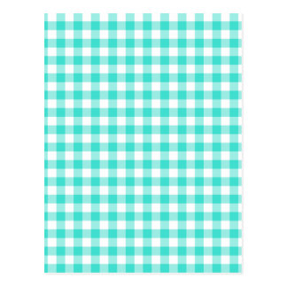 Turquoise and White Gingham Checks Pattern Postcard