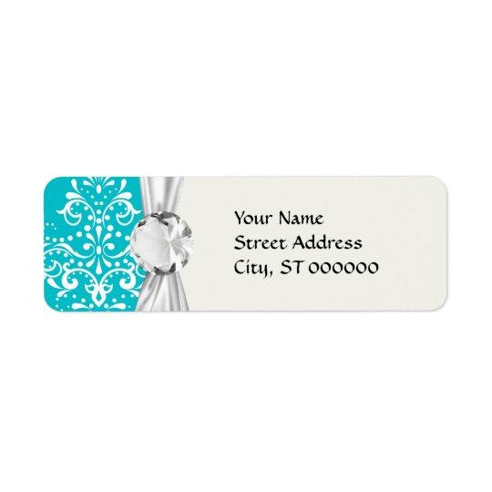 turquoise and white henna style damask return address label