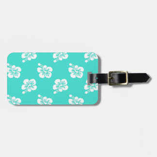 Turquoise and White Hibiscus Floral Luggage Tag