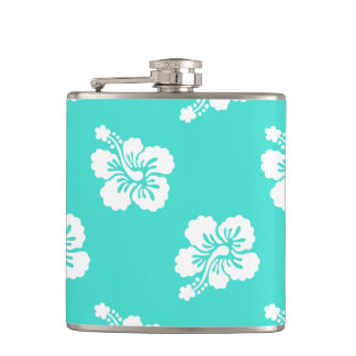 Turquoise and White Hibiscus Hawaiian Pattern Flasks