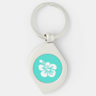 Turquoise and White Hibiscus Silver-Colored Swirl Key Ring