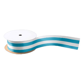 Turquoise and White Horizontal Stripes Satin Ribbon