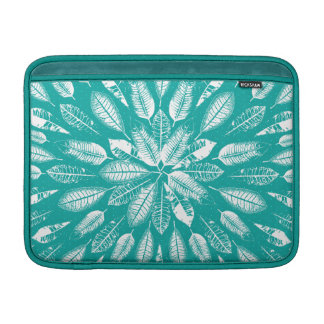 Turquoise And White Leaves Pattern Laptop Sleeve