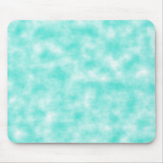Turquoise and White Marbled Mottled Swirls Clouds Mouse Pad