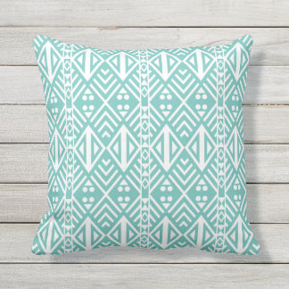 Turquoise and White Modern Aztec Pattern Cushion