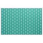 Turquoise and white nautical anchor textile fabric