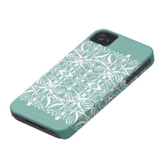 Turquoise and White Nouveau Pattern Case iPhone 4 Case-Mate Cases
