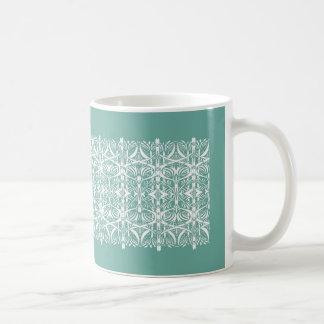 Turquoise and White Nouveau Pattern Mug