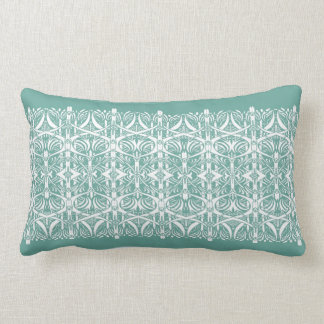 Turquoise and White Nouveau Pattern Pillow Cushion