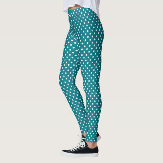 Turquoise And White Polka Dot Leggings
