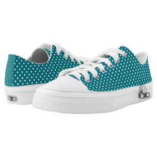 Turquoise And White Polka Dot Pattern Printed Shoes