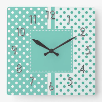 Turquoise and White Polka Dots Square Clock