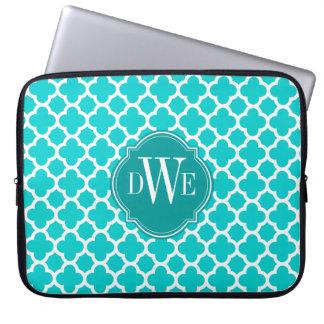 Turquoise and White Quatrefoil Pattern Monogram Laptop Sleeve