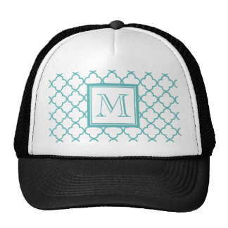 Turquoise and White Quatrefoil | Your Monogram Hats