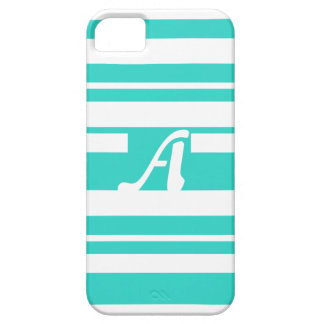 Turquoise and White Random Stripes Monogram Cover For iPhone 5/5S