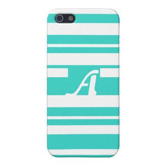 Turquoise and White Random Stripes Monogram iPhone 5/5S Cases