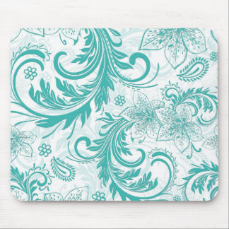 Turquoise And White Retro Flowers & Swirls Design Mouse Pad