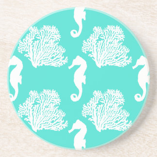 Turquoise And White Seahorse Coastal Pattern Drink Coasters