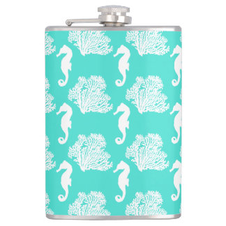 Turquoise And White Seahorse Coastal Pattern Flask