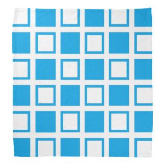 Turquoise and White Squares Bandana