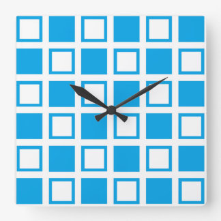 Turquoise and White Squares Square Wall Clock