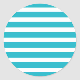 Turquoise and White Stripe Nautical Summer Classic Round Sticker