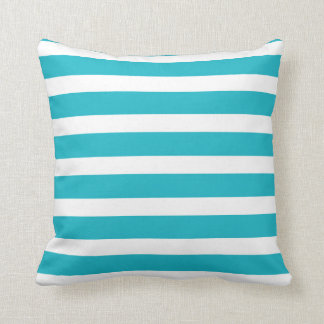Turquoise and White Stripe Nautical Summer Cushion