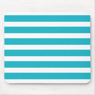 Turquoise and White Stripe Nautical Summer Mouse Pad