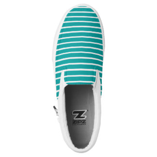 Turquoise and White Stripe Slip On Canvas Shoes
