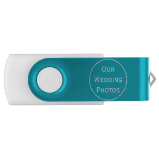 Turquoise and White Wedding Swivel USB Drive