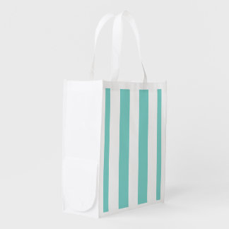 Turquoise and White XL Stripes Pattern Reusable Grocery Bag