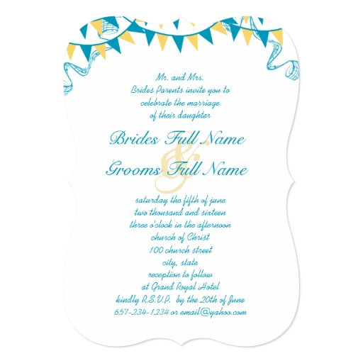 Turquoise And Yellow Bunting Pennant Wedding 13 Cm X 18 Cm Invitation Card