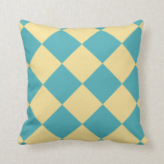 Turquoise and yellow diamond pattern throw pillow
